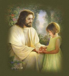 Jesus holding the hand of little girl